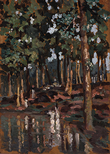 Dumka shal forest, 29 x 21 cm, 1944, Oil on board