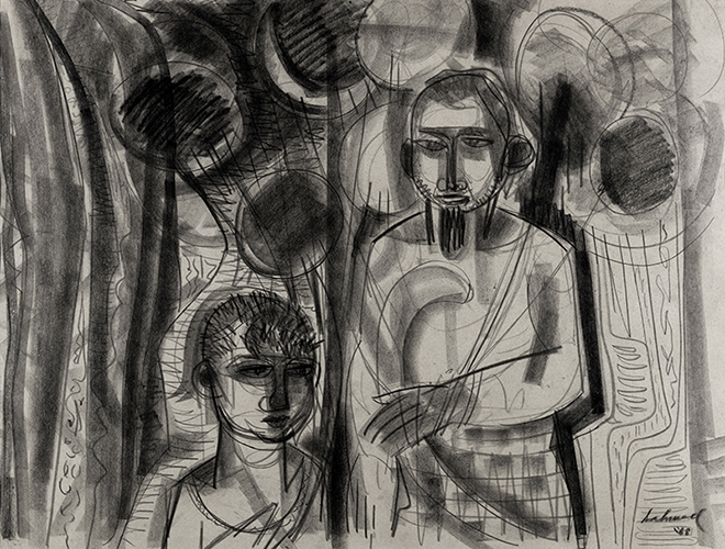 Balloon vendor, 51 X 68 cm, 1968, Charcoal & Crayon