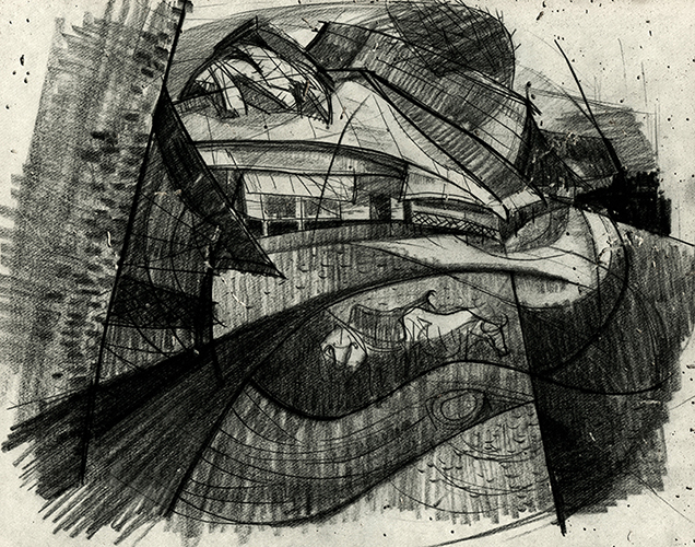 Flooded village, 20 X 25 cm, 1959, Charcoal & Crayon