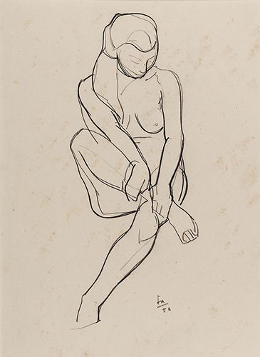 Nude study, 38 x 28 cm, 1958, Carbon pencil